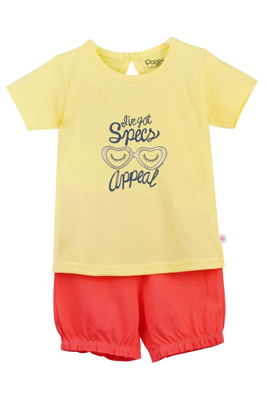 LEVINE Lemon Verbena Half sleeve Top and Shorts for Baby Girls