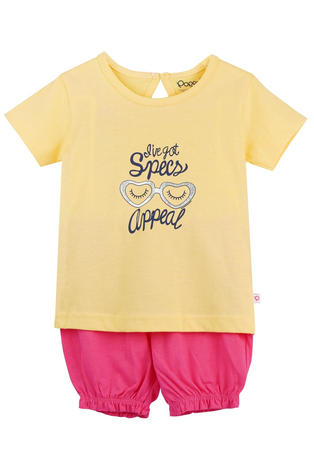 LEVINE Popcorn Half sleeve Top and Shorts for Baby Girls