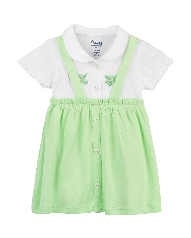 MEKKI Paradise Green Half Sleeve Frock and Panties for Baby Girls