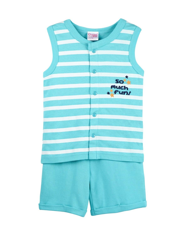 POP-SL-B-TS-001 Blue Radiance Sleeveless T-shirts and Shorts for Baby Boys