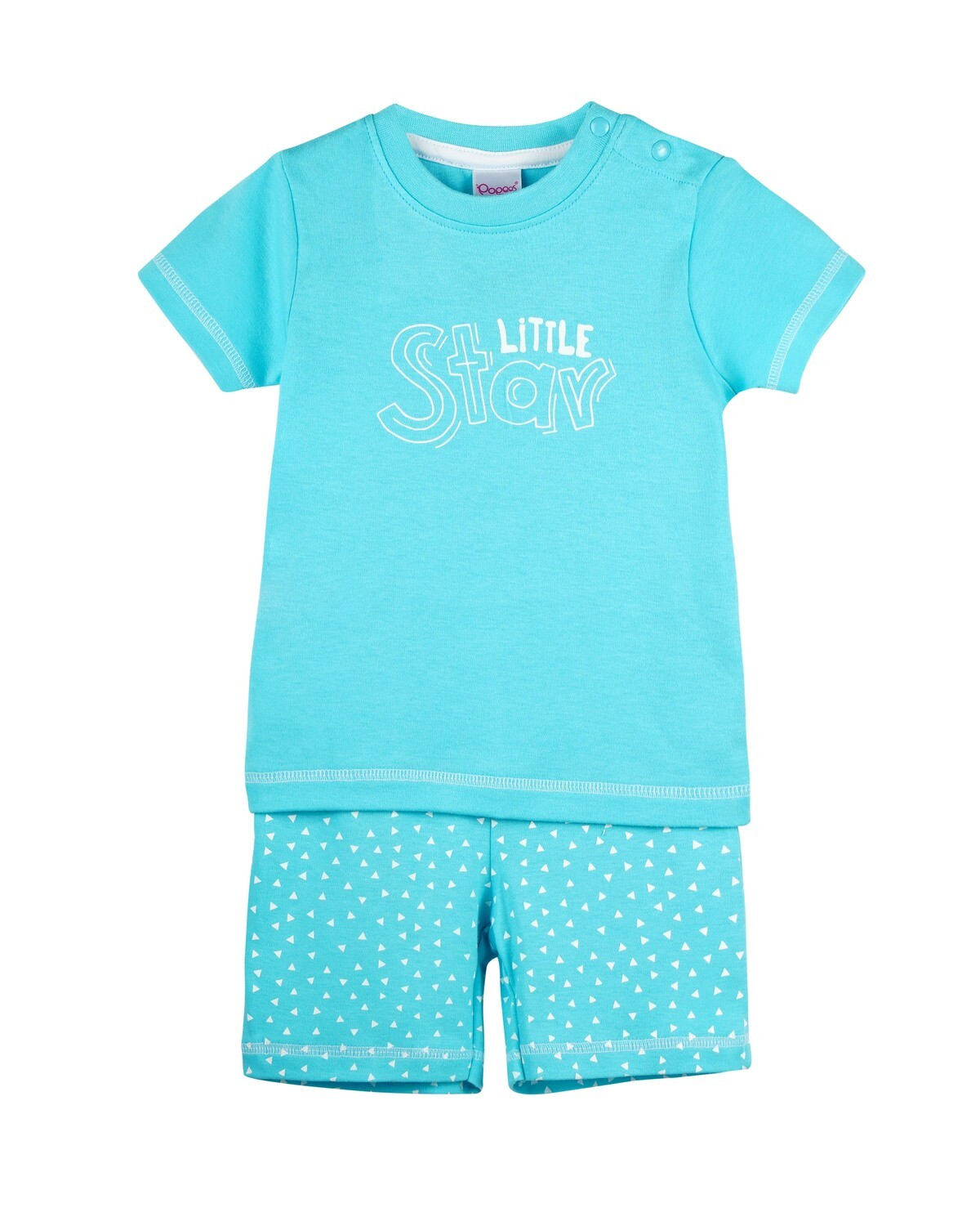 POP-HS-B-TS-003 Blue Radiance Half Sleeve Top and Shorts for Baby Boys