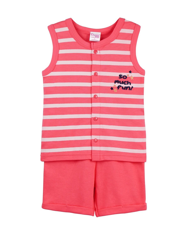POP-SL-B-TS-001 Camellia Rose Sleeveless T-shirts and Shorts for Baby Boys