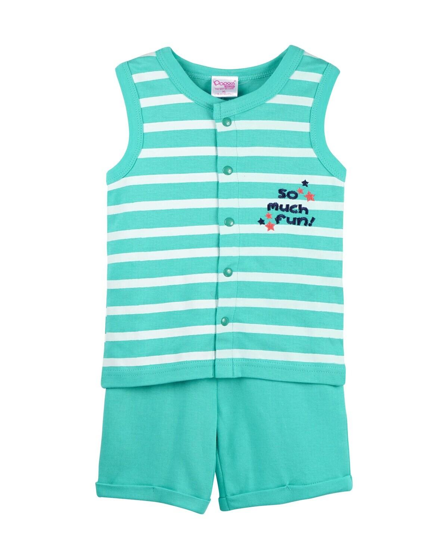 POP-SL-B-TS-001 Water Fall Sleeveless T-shirts and Shorts for Baby Boys