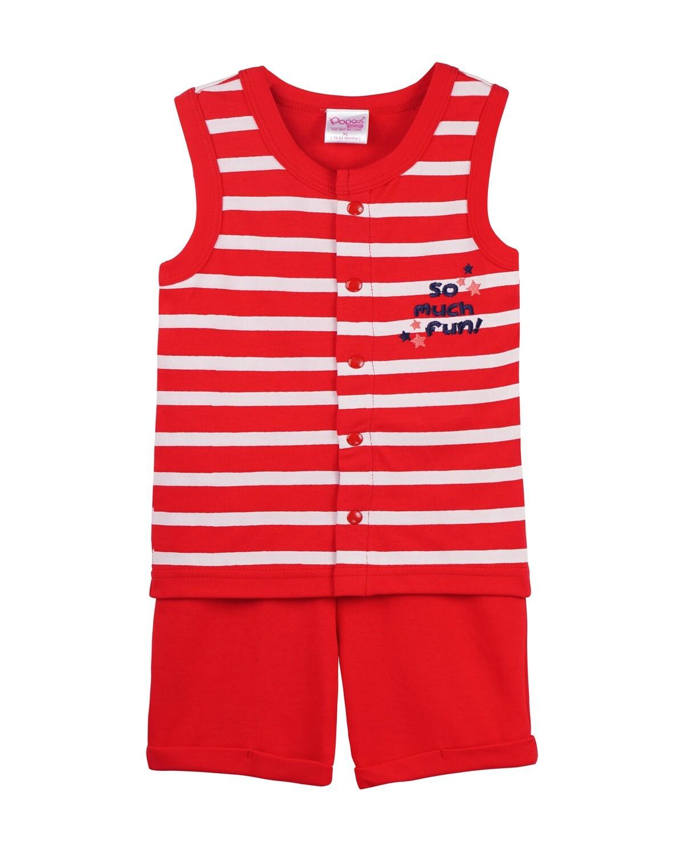 POP-SL-B-TS-001 Ski Patrol Sleeveless T-shirts and Shorts for Baby Boys