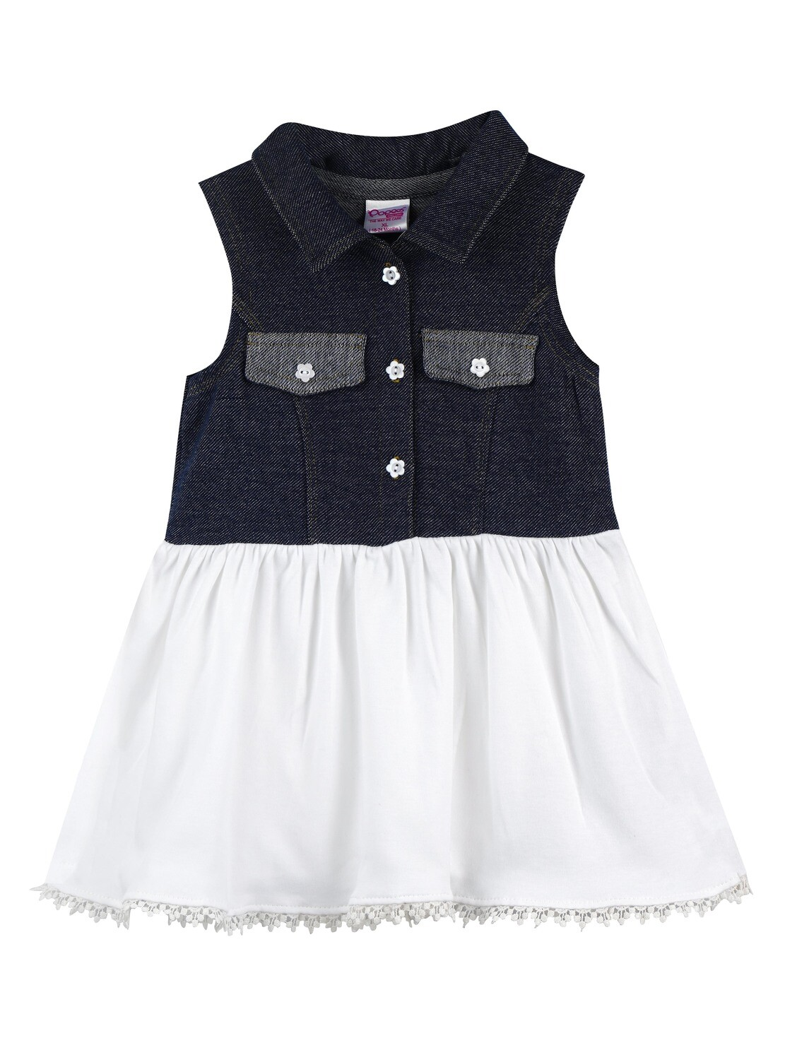 VAANI Navy Blue Sleeveless Frock and Panties for Baby Girls