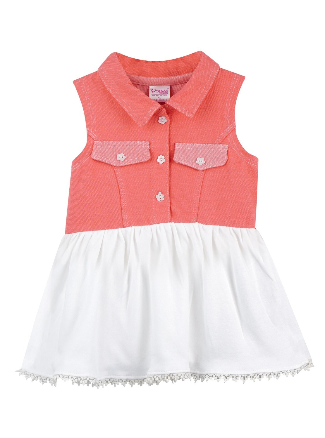 VAANI Peach Sleeveless Frock and Panties for Baby Girls