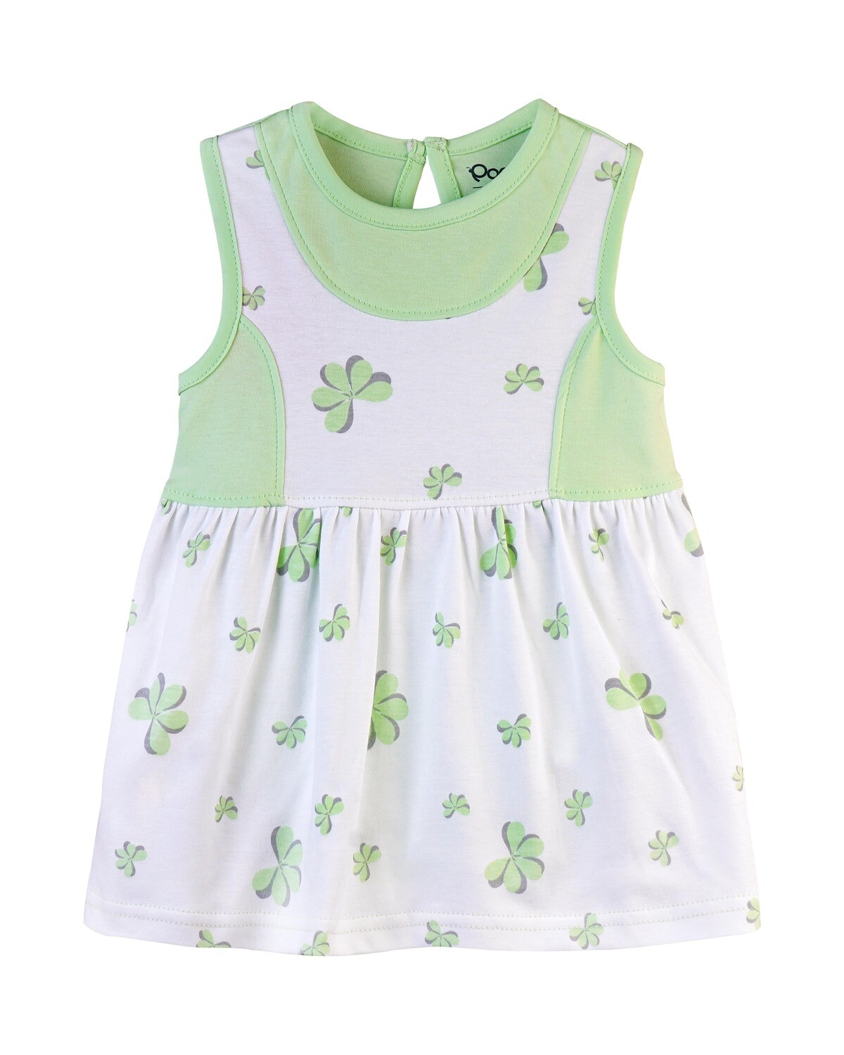 ESTELLE Paradise Green Sleeveless Frock and Panties for Baby Girls