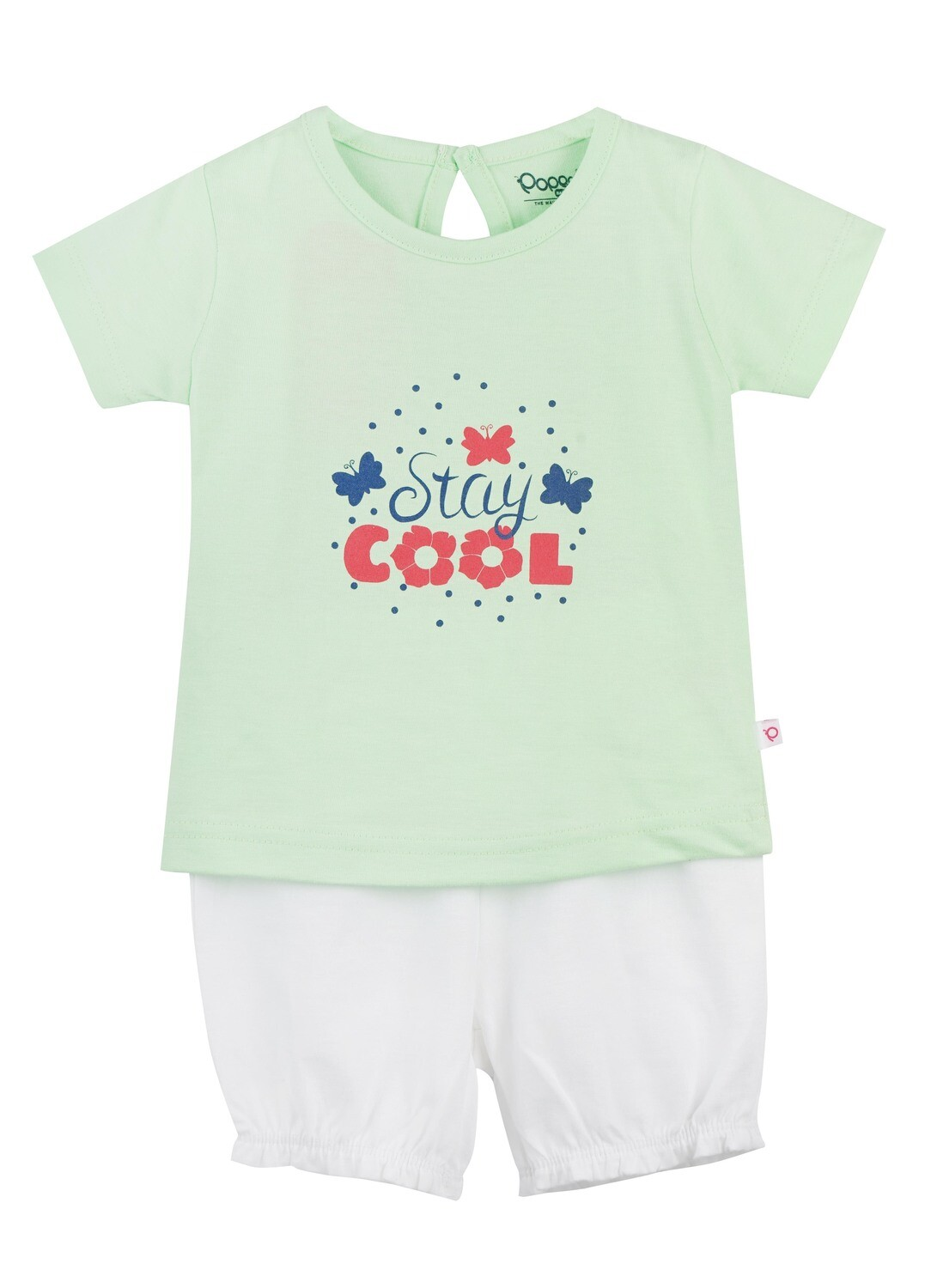 STRAWBERRY Patina Green Half sleeve Top and Panties for Baby Girls