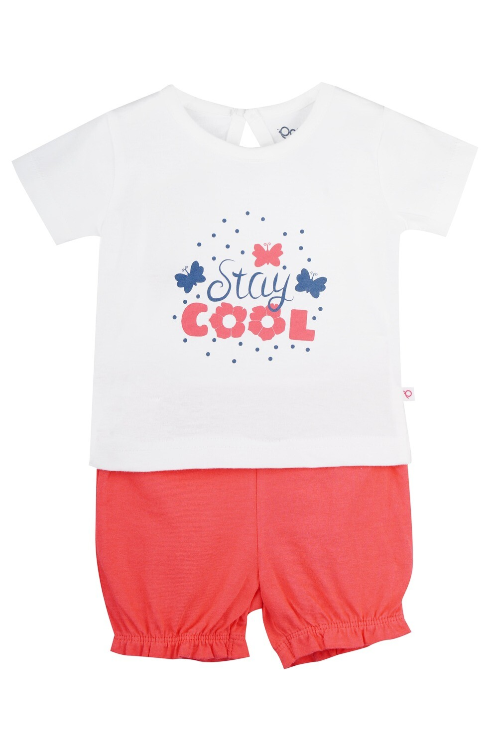 STRAWBERRY Bright White Half sleeve Top and Panties for Baby Girls