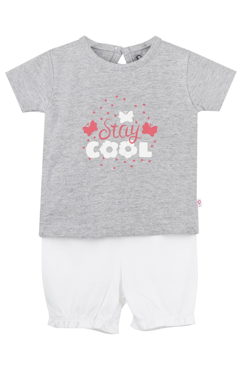 STRAWBERRY Grey Marl Half sleeve Top and Panties for Baby Girls