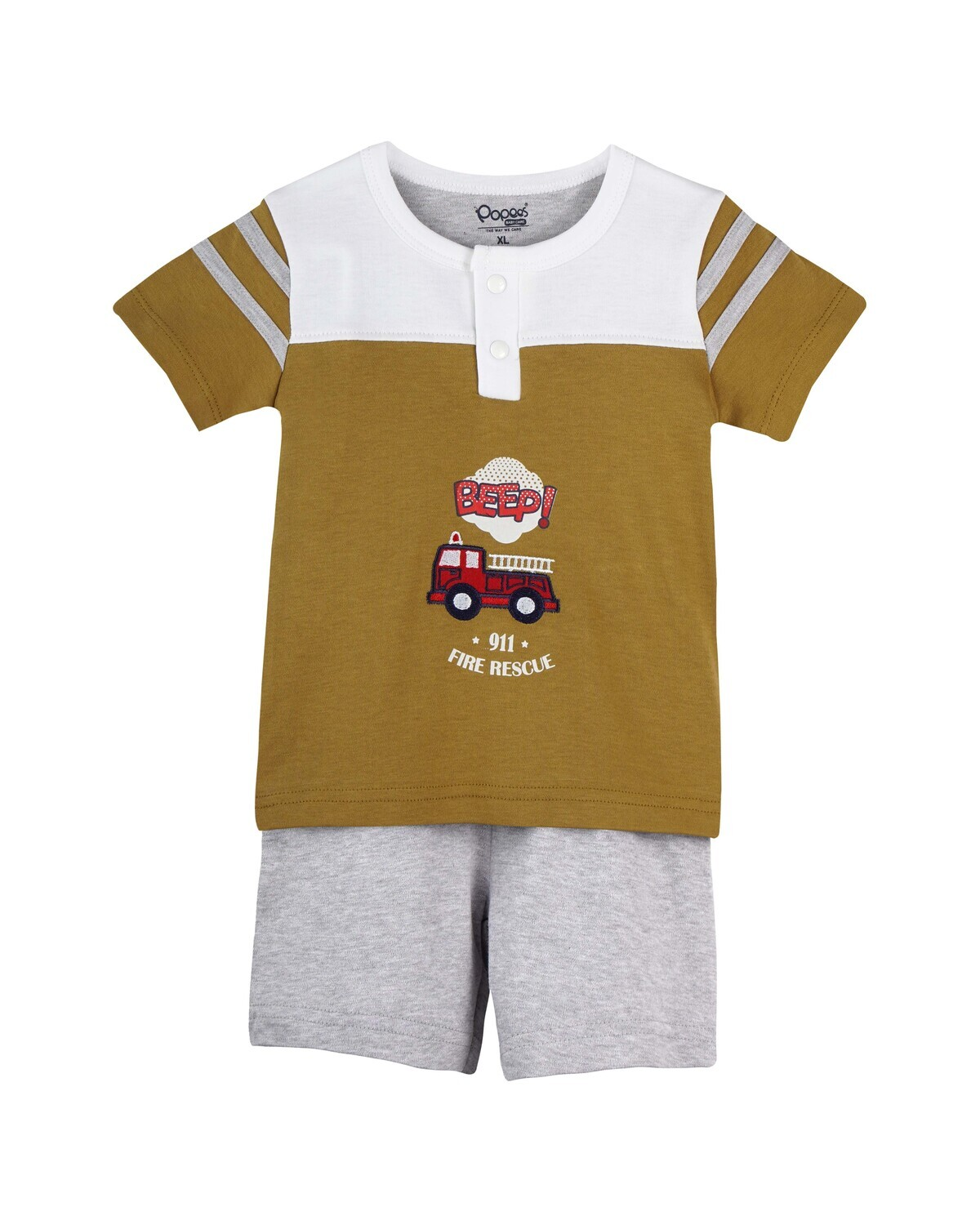DARVI Dull Gold Half Sleeve Top and Trouser for Baby Boys