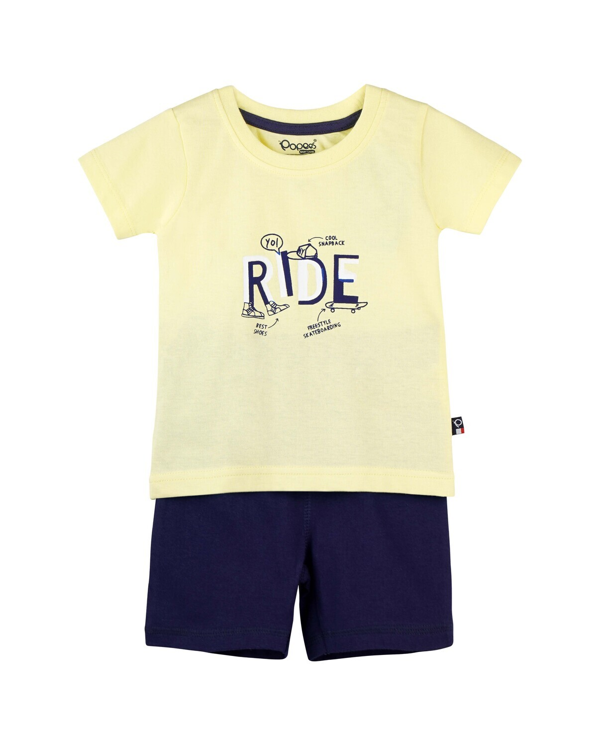 CADOC Tender Yellow Half Sleeve Top and Shorts for Baby Boys