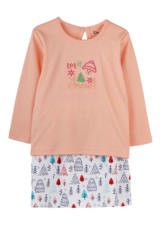 BELIEN Peach Blush Full Sleeve Top and Skirt for Baby Girls