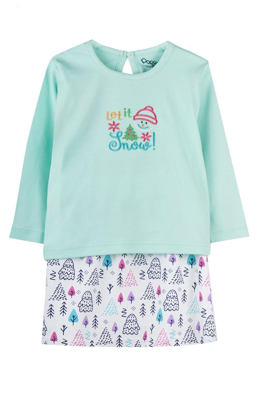 BELIEN Green Full Sleeve Top and Skirt for Baby Girls