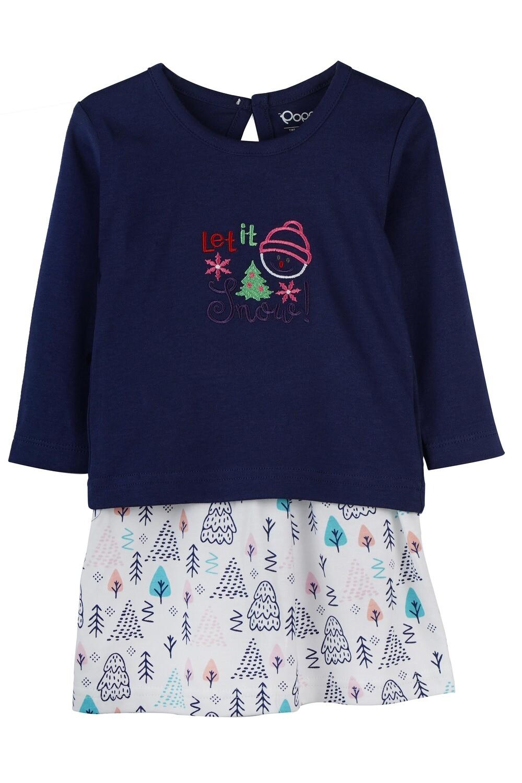 BELIEN Navy Blue Full Sleeve Top and Skirt for Baby Girls