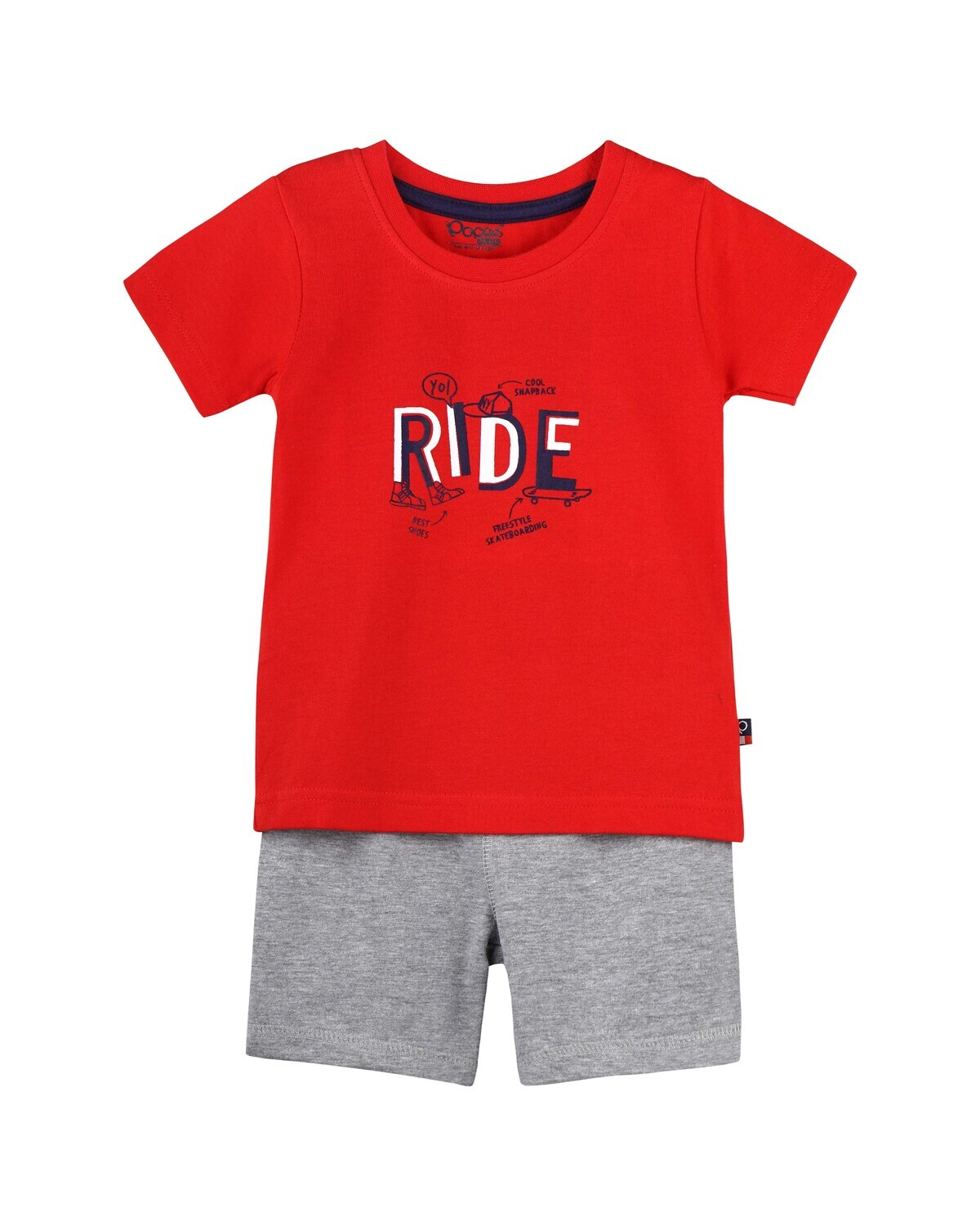 CADOC Poppy Red Half Sleeve Top and Shorts for Baby Boys