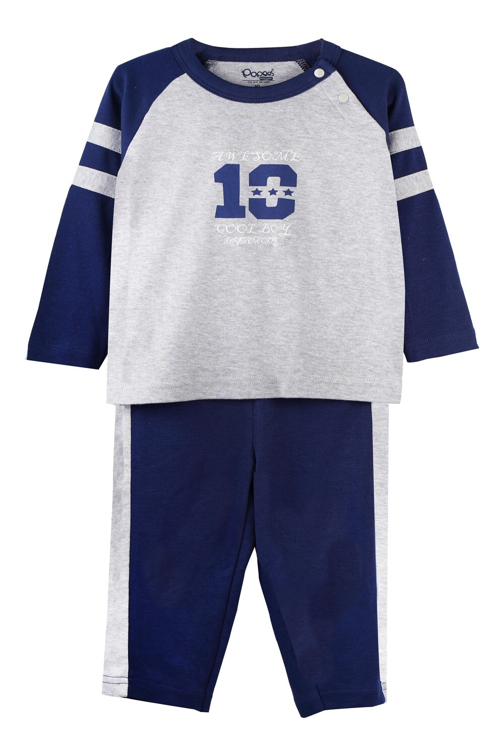 ELIGE MELANGE/NAVY Full Sleeve Top and Pant for Baby Boys