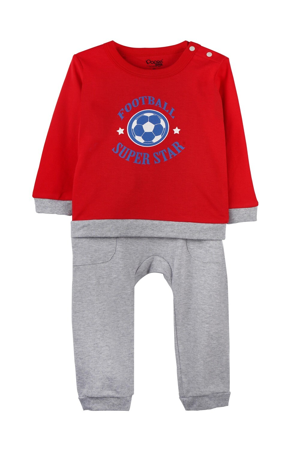 KIRTON True Red Full Sleeve Shoulder Open Top and Pant for Baby Boys