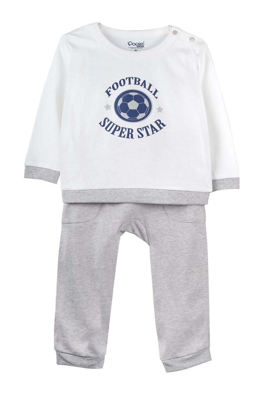 KIRTON White Full Sleeve Shoulder Open Top and Pant for Baby Boys