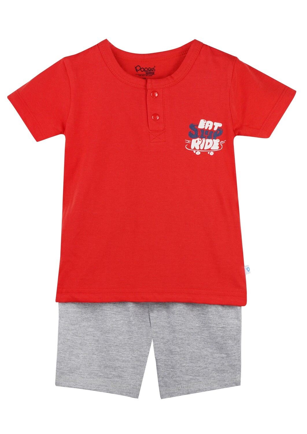 LENIN POPPY RED Half Sleeve Front Half Open Top and Trouser SINGLE JERSEY for Baby Boys