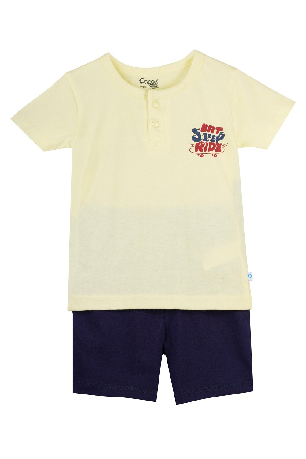 LENIN TENDER YELLOW Half Sleeve Front Half Open Top and Trouser SINGLE JERSEY for Baby Boys
