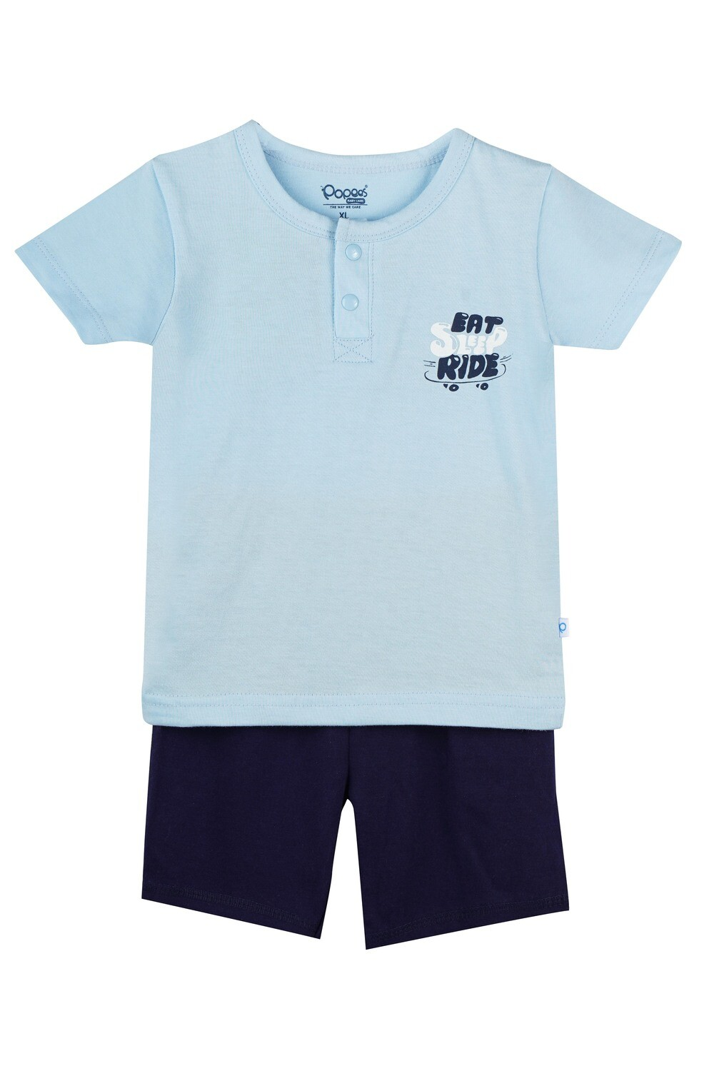 LENIN BABY BLUE Half Sleeve Front Half Open Top and Trouser SINGLE JERSEY for Baby Boys