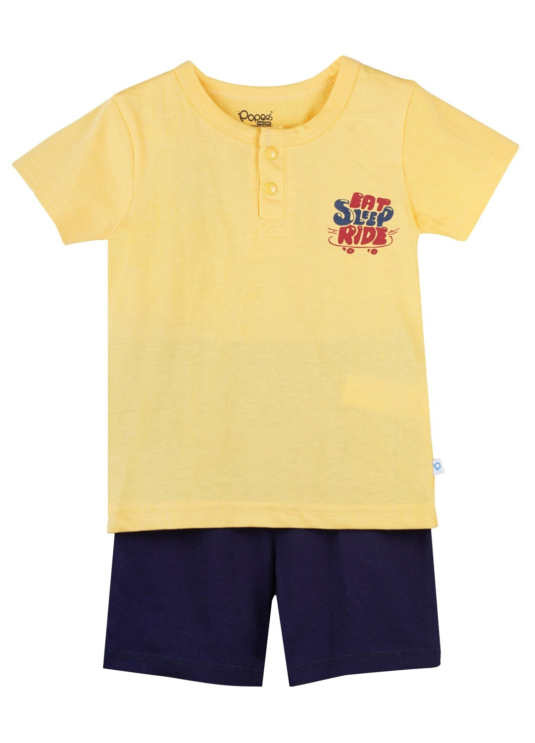 LENIN ASPEN GOLD Half Sleeve Front Half Open Top and Trouser SINGLE JERSEY for Baby Boys