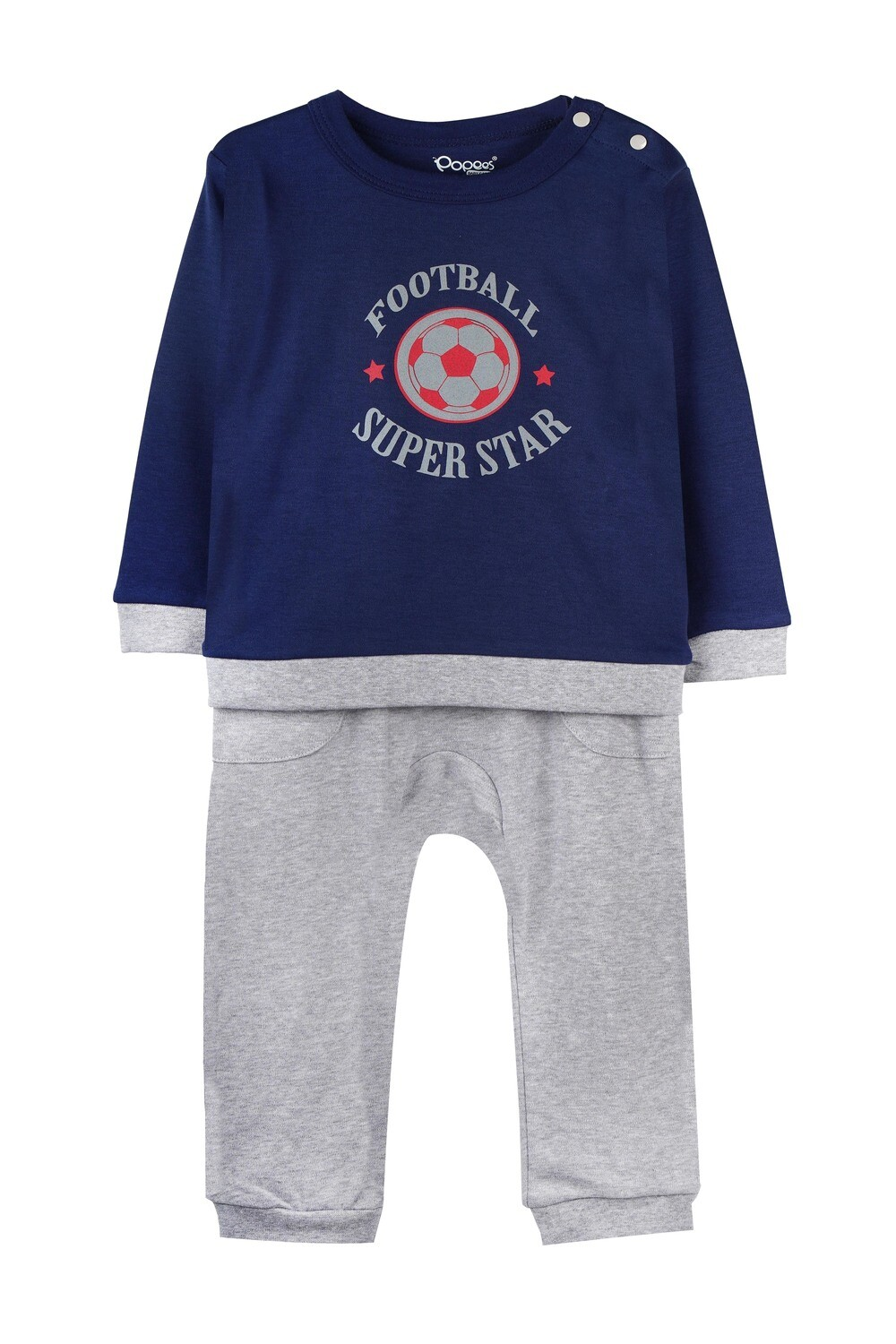 KIRTON NAVY BLUE Full Sleeve Shoulder Open Top and Pant for Baby Boys