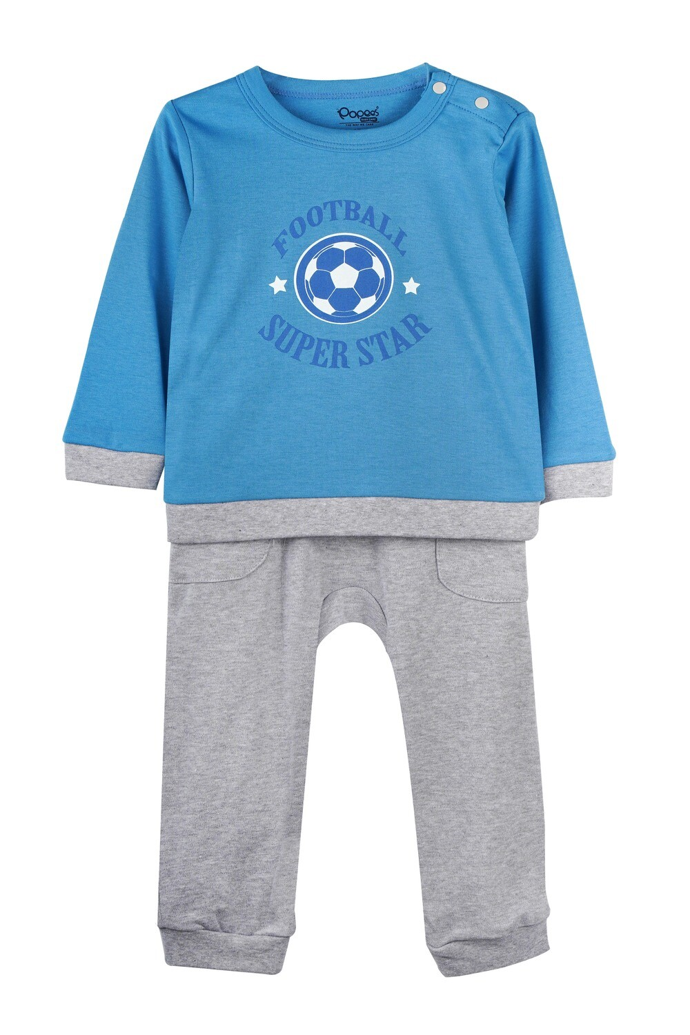 KIRTON PERSIAN BLUE Full Sleeve Shoulder Open Top and Pant for Baby Boys