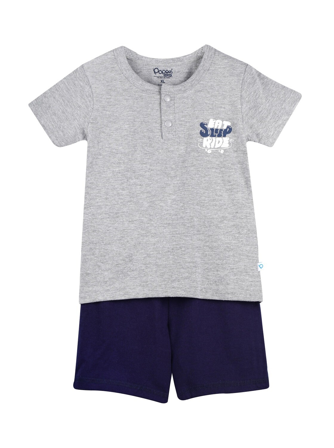 LENIN GREY MARL Half Sleeve Front Half Open Top and Trouser SINGLE JERSEY for Baby Boys