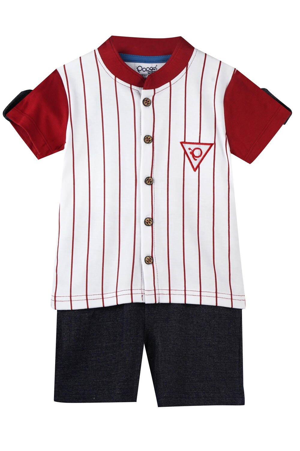 CHILL GARNET Half Sleeve Front Half Open Cotton Top and Shorts for Baby Boys