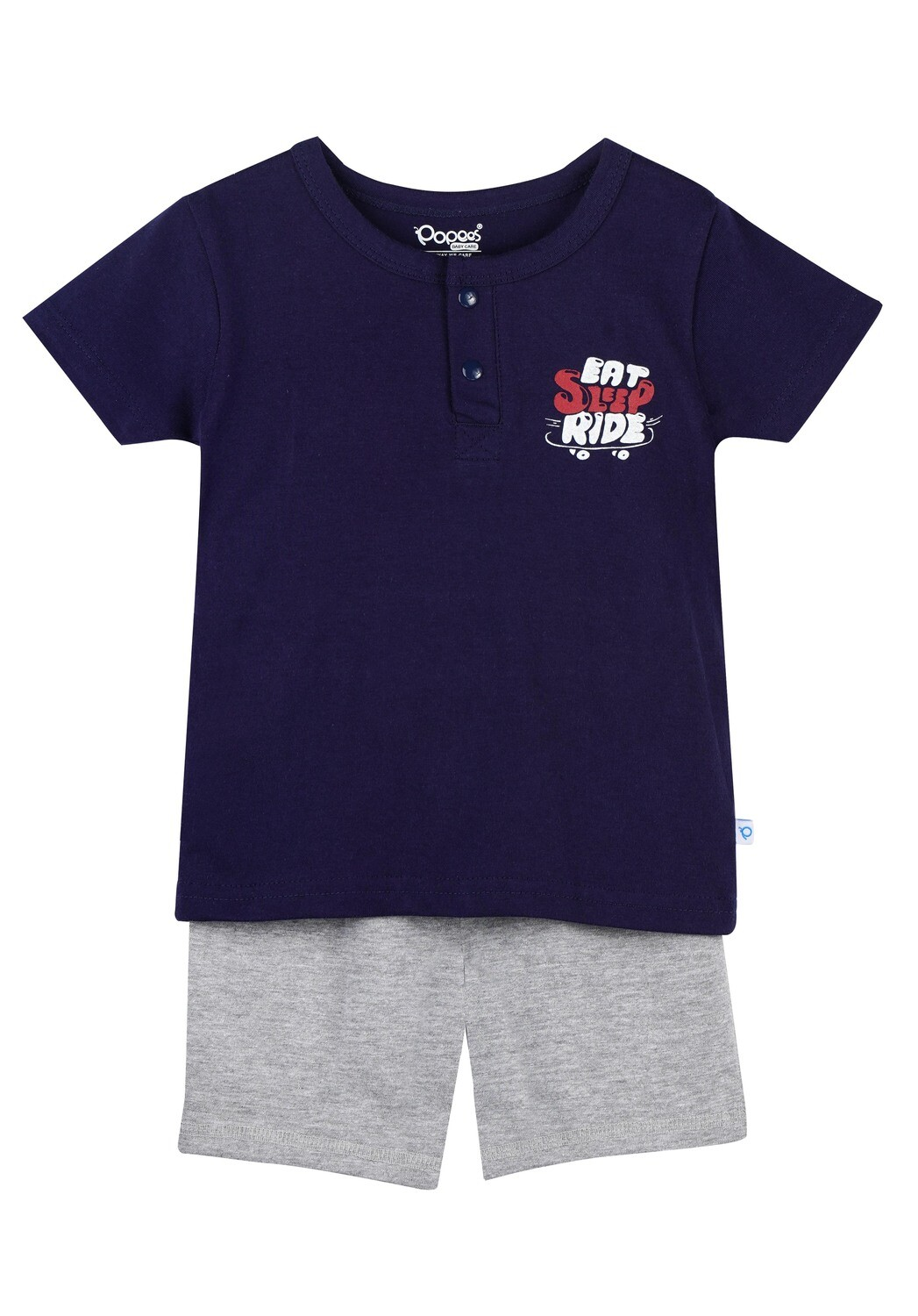 LENIN PEACOAT NAVY Half Sleeve Front Half Open Top and Trouser SINGLE JERSEY for Baby Boys