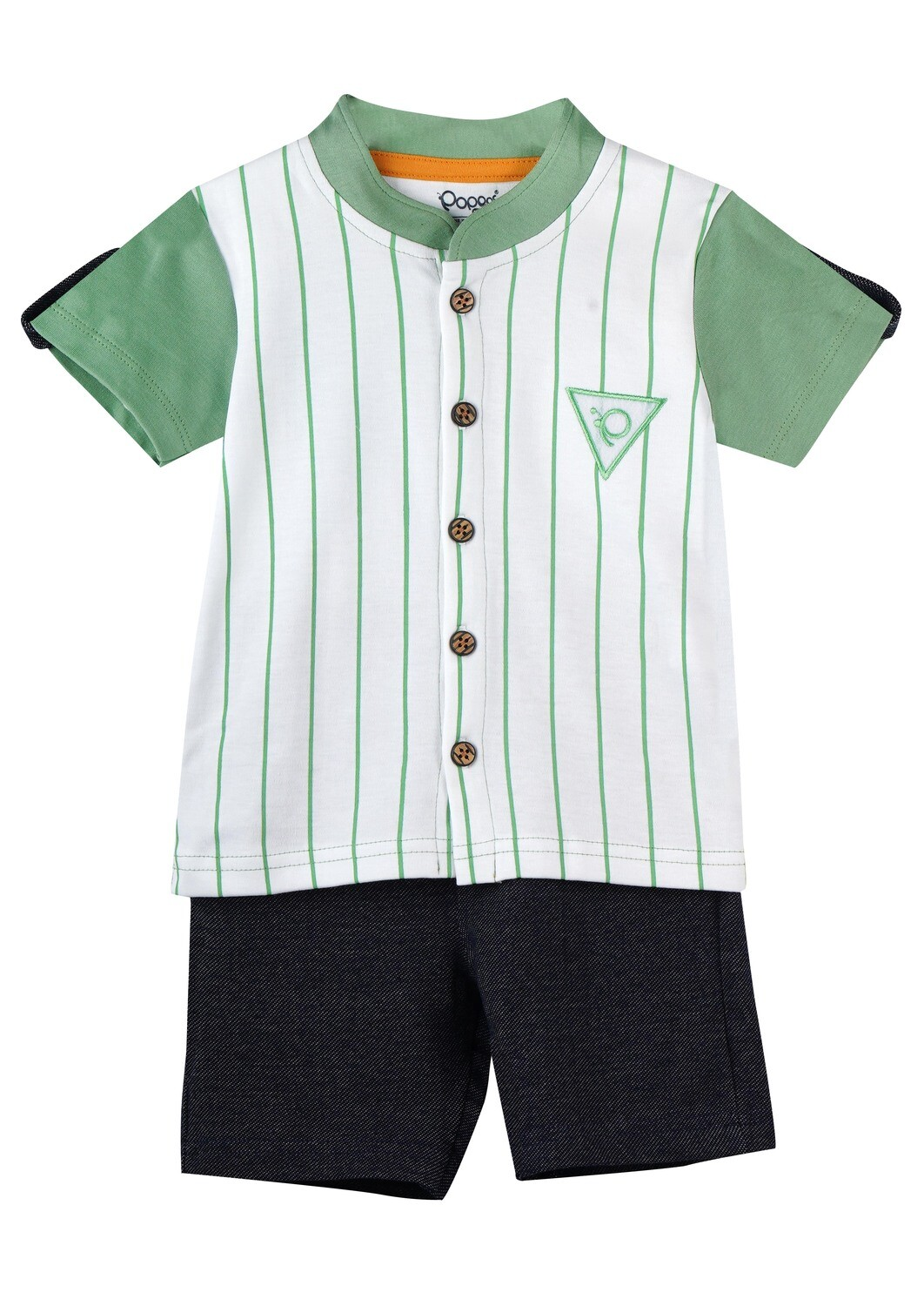 CHILL GREEN EYES Half Sleeve Front Half Open Cotton Top and Shorts for Baby Boys