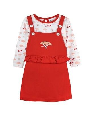 MELISANDRE RED Full Sleeve Dungaree for Baby Girls