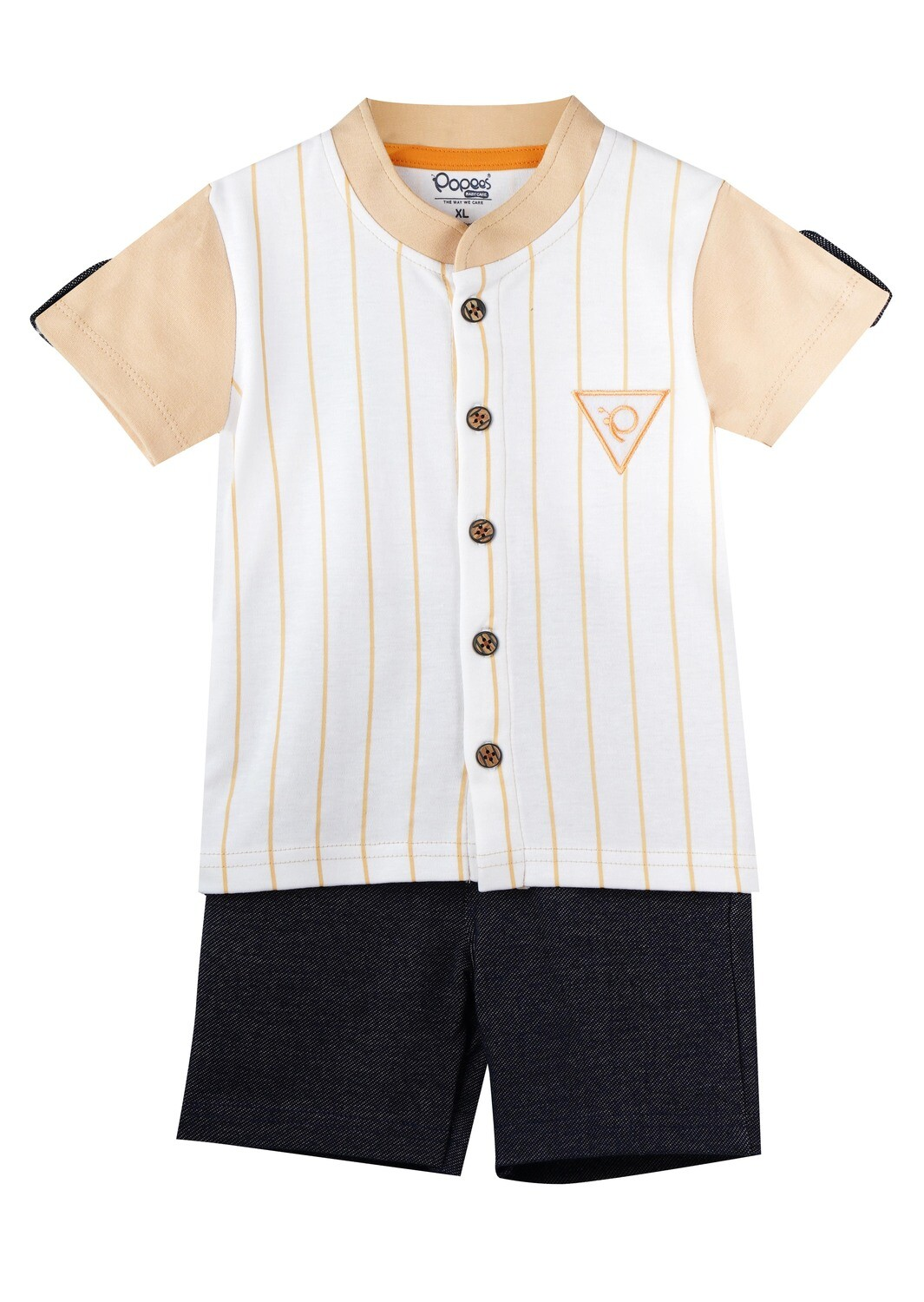 CHILL BEIGE Half Sleeve Front Half Open Cotton Top and Shorts for Baby Boys