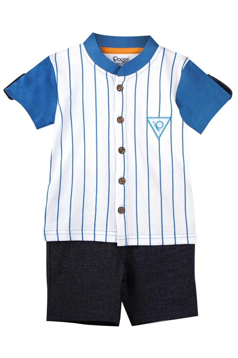 CHILL AZURE BLUE Half Sleeve Front Half Open Cotton Top and Shorts for Baby Boys
