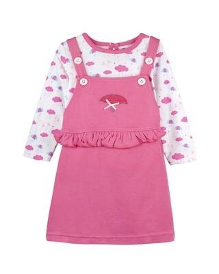 MELISANDRE AZALEA PINK Full Sleeve Dungaree for Baby Girls