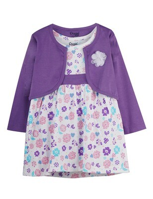 VERUM LAVENDER Full Sleeve Frock and Panties for Baby Girls