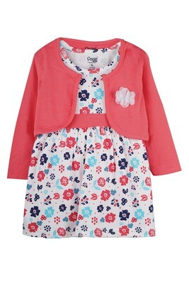 VERUM CALIPSO CORAL Full Sleeve Frock and Panties for Baby Girls