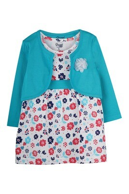 VERUM SCUBA GREEN Full Sleeve Frock and Panties for Baby Girls