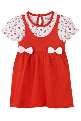 ALKALI RED Half Sleeve Frock and Panties for Baby Girls