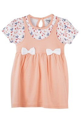 ALKALI PEACH BLUSH Half Sleeve Frock and Panties for Baby Girls