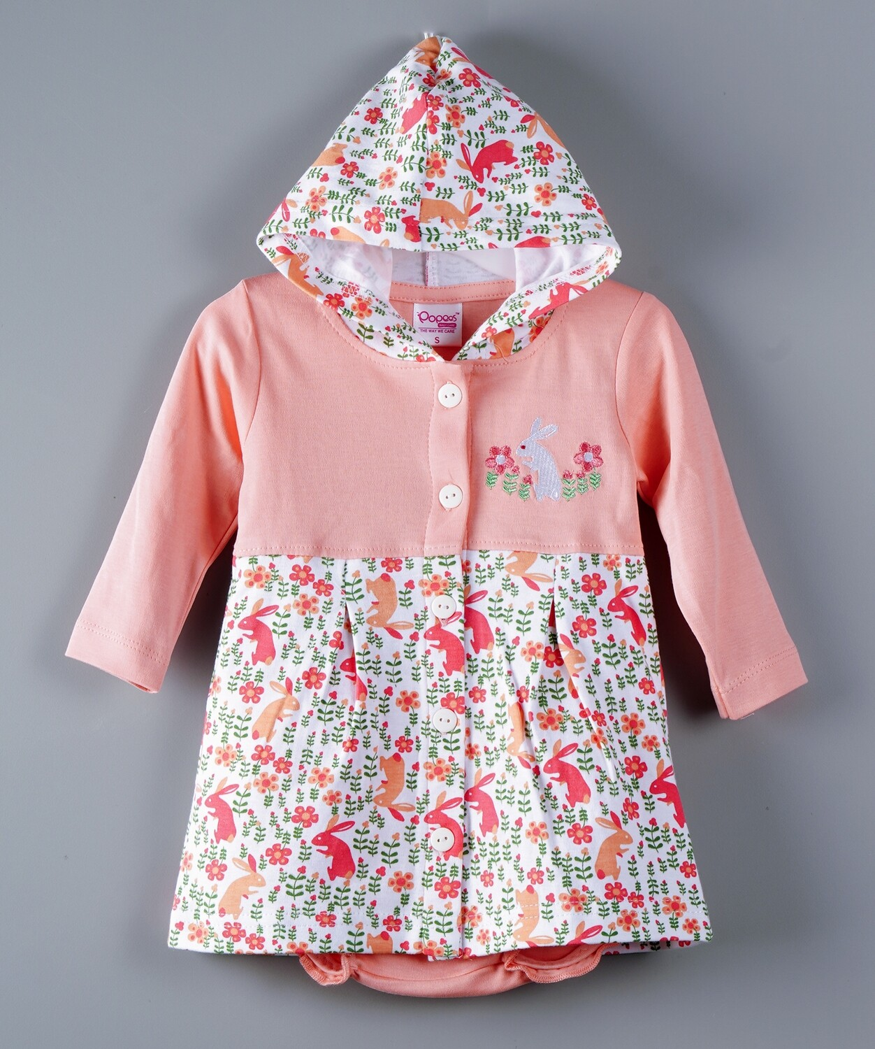 Thumper Full Sleeve Peach Hooded Frock and Panty for Baby Girls