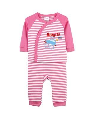 CHON AZALEA PINK Top/Trouser Half Sleeves Front Open Interlock for Baby BOYS