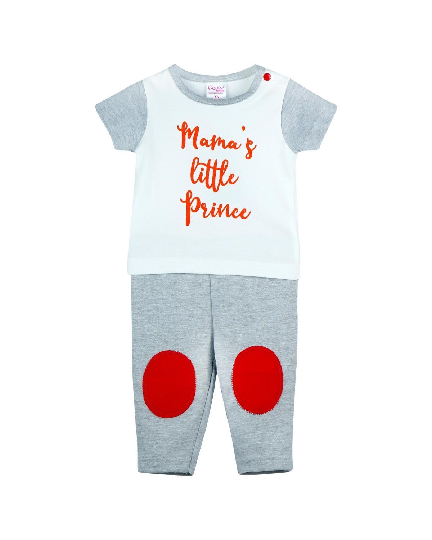POPEES-NEEM-GRAY MELANGE Top/Trouser Half Sleeves Front Open Interlock for Baby BOYS