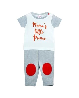 NEEM GRAY MELANGE Top/Trouser Half Sleeves Front Open Interlock for Baby BOYS