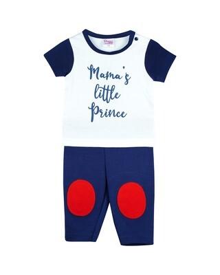 NEEM NAVY BLUE Top/Trouser Half Sleeves Front Open Interlock for Baby BOYS