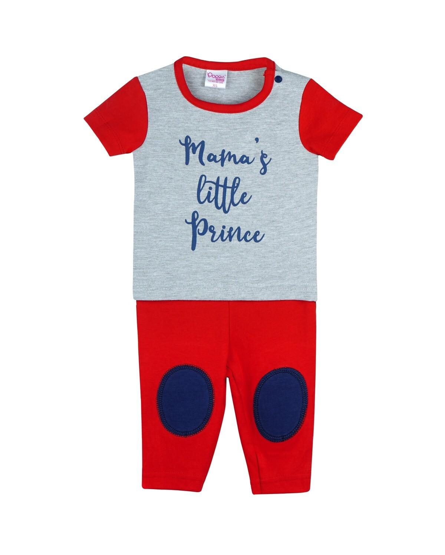 NEEM RED Top/Trouser Half Sleeves Front Open Interlock for Baby BOYS