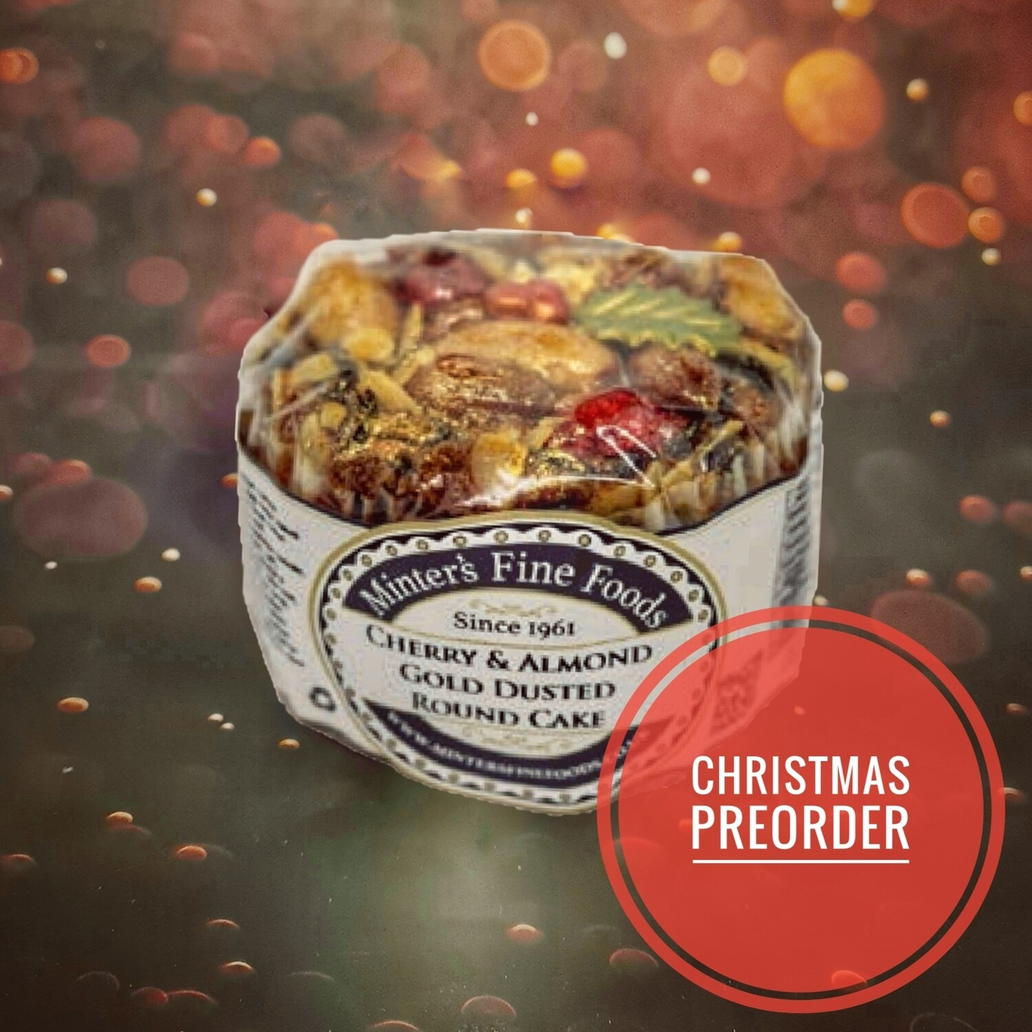 Preorder Cherry & Almond Gold Dusted Christmas Cake