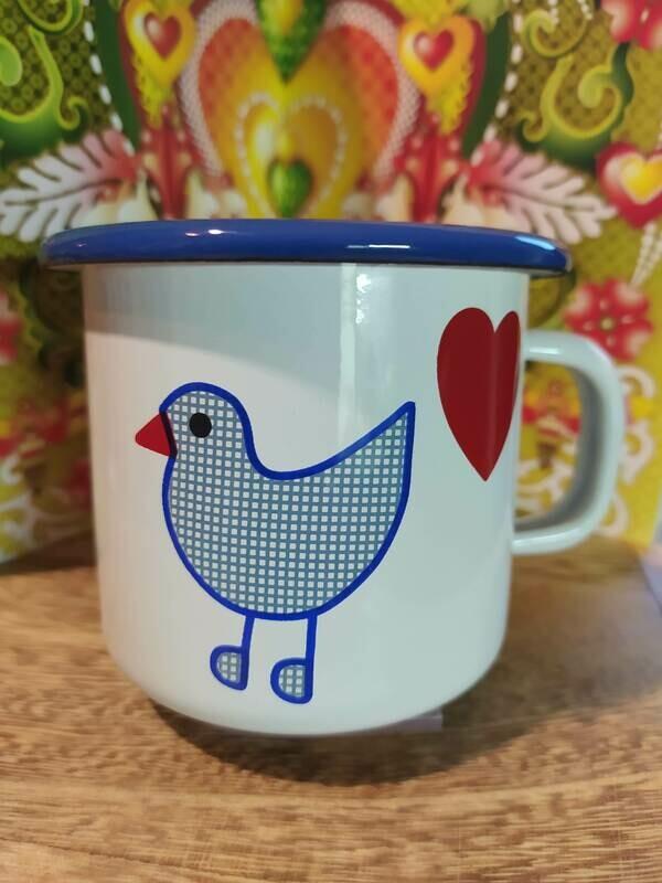 Münder Emaille - Kindertasse - Herzvogel